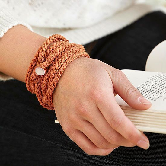 This crocheted chain is the ultimate in versatility. Wrap it around your wrist for a fashionable stacked bracelet, or drape the strand around your neck for a trendy, long look.