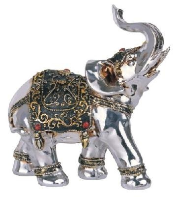 6.5 inch Embellished Silver Thai Elephant Facing Right Figurine Statue