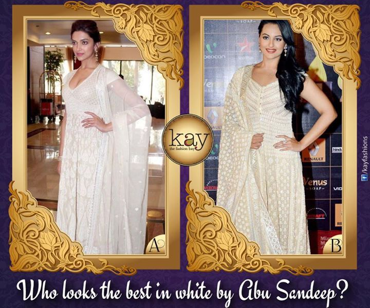 Which actress looks the best in this elegant white ensemble by Abu-Sandeep? The dimple queen Deepika Padukone or the lovely Sonakshi Sinha? :)  http://www.kayfashions.in/#!/ #fashion #indian #weddings #bridal #lehenga #ghagra #anarkali #salwar #designer #ethnic #boutique #chennai #shopping #triplicane #dress #clothes #traditional #saree #sari #silksaree