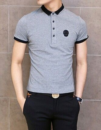 Fashion Color Block Turn-down Collar Badge Embellished Short Sleeves Cotton Polo…