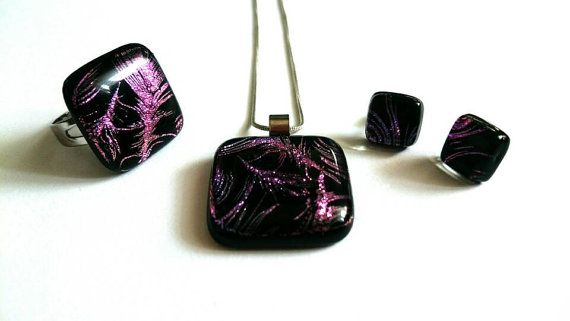 Check out this item in my Etsy shop https://www.etsy.com/listing/478972499/special-dichroic-glass-jewelry-set-with