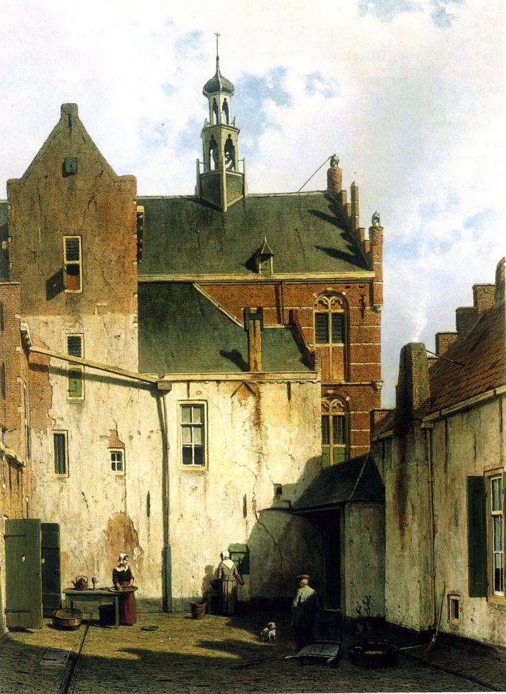 Binnenplaats bij het stadhuis te Culemborg | Dordrechts Museum | Huis Van Gijn