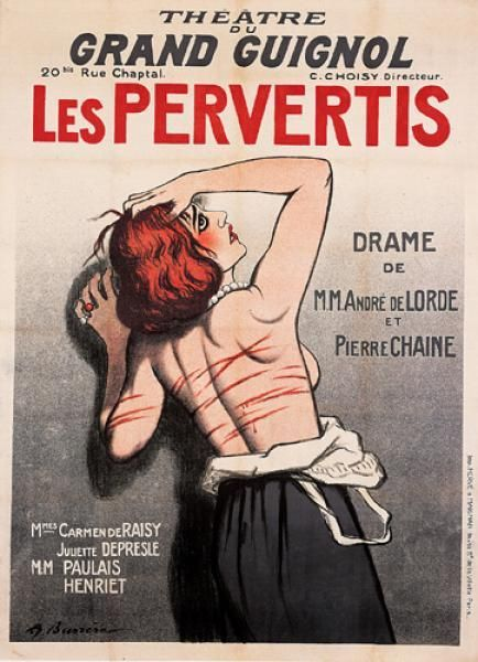 """1920 poster by Adrien Barrere for """"The Perverted"""", for Paris' Grand Guignol theatre http://historyofbdsm.tumblr.com/post/133024097841"""