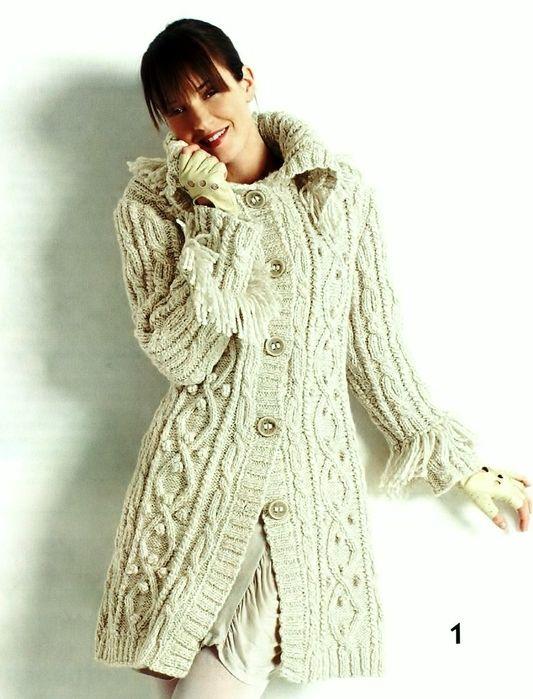 ЗИМНИЕ УЗОРЫ. Пальто с косами. Вязание спицами (4) (533x699, 242Kb)