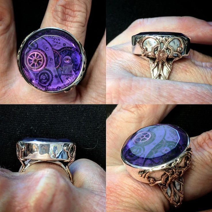 Purple Passion!  Sterling silver handmade ring with vintage brass accents.  Set in the center is an Elgin watch movement encased in hand faceted purple acrylic.  It is also sealed in the back with clear acrylic.  At the moment the ring is a size 8 but I can size it to any requested size within 3 sizes up or down at no charge.#steampunk #DKTaylorOriginals #handmadejewelry #cogsandwheels #upcycle #alteredart  $300
