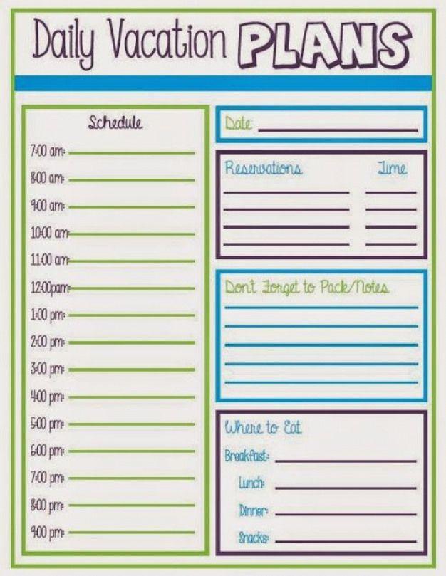 Daily Vacation Schedule Travelitinerarytemplate Travel