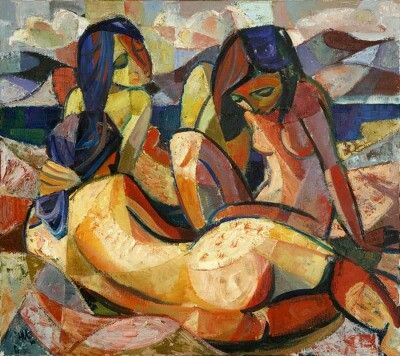 Hennie Niemann Jnr.: Three Bathers, oil on canvas,