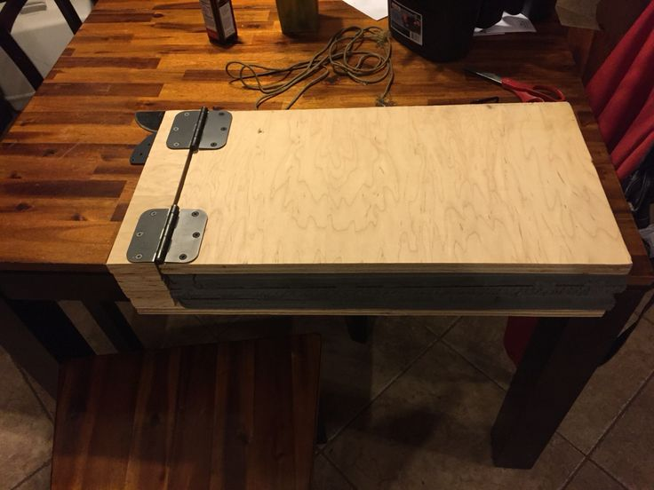 My Kydex press, made with anti-fatigue floor foam from Harbor freight, and 3/4 plywood.