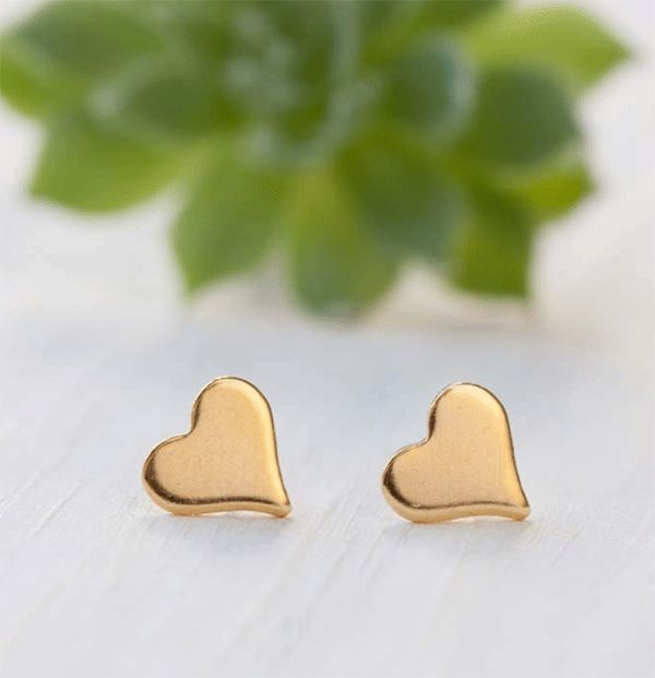 Tiny Gold Heart Stud Earrings
