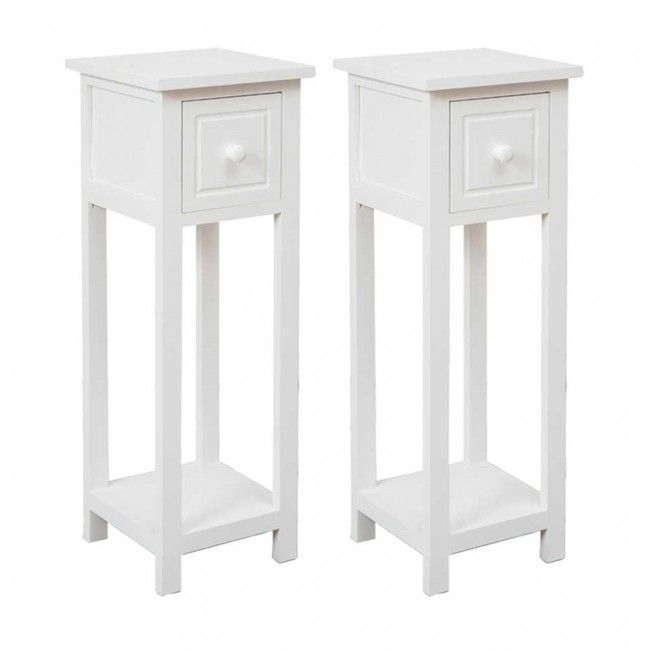 Pair Of Telephone Hallway Tables With Drawer White Small