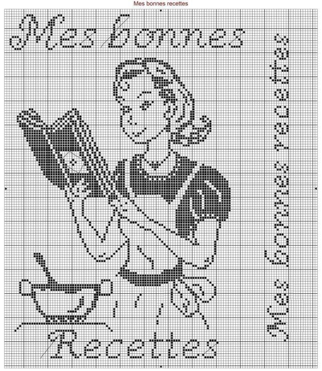point de croix femme cuisinière  , cross stitch cook woman