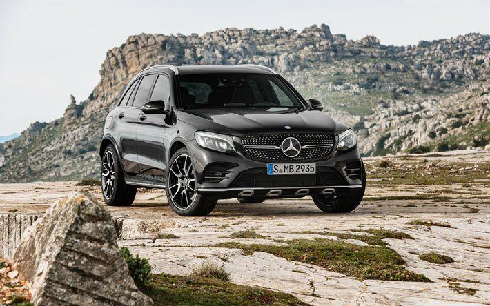 Descargar fondos de pantalla Mercedes-Benz GLC-Clase de 2017, AMG, Negro GLC, X253, Crossover, los coches alemanes, Mercedes