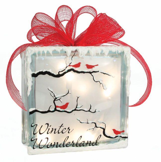Winter wonderland glass block glassblock craft for Glass block for crafts