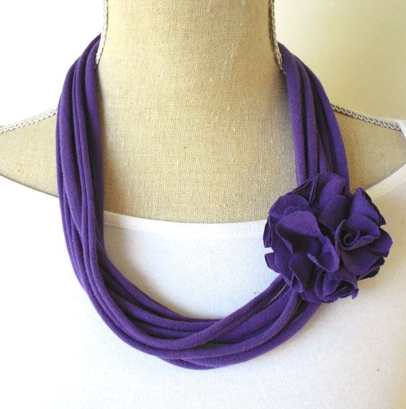 Upcycled Purple Jersey Tee Noodle Tshirt Necklace with Removable Flower Clip, Repurposed Recycled T-shirt Loop Scarf, Accessory on Etsy, $12.00