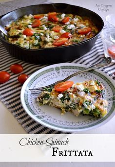 A light, healthy recipe for frittata made with cooked chicken, spinach (or other greens like chard or kale), feta, and garnished with tomatoes. Perfect for brunch, lunch, or dinner!