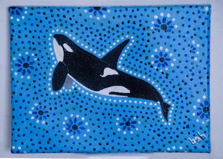Original painting, Australian dot art inspired orca on light blue background, acrylic by MuddCraft on Etsy