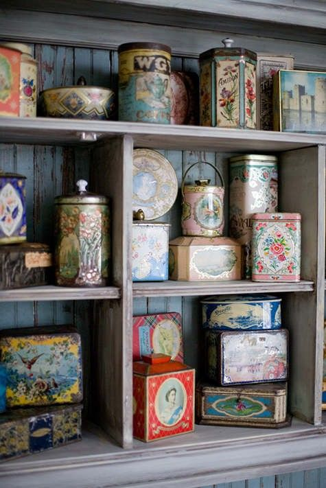 Another example of a wonderful collections of vintage tins.  The shelves are a wonderful way of showing them off! #home decor #collecting