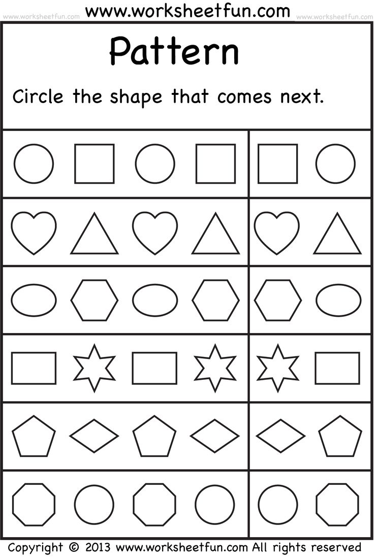 Kindergarten free colouring worksheets - Patterns Circle The Shape That Comes Next 2 Worksheets Free Printable Worksheets