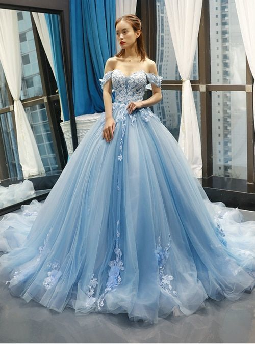 87ca0ccbcbe Blue Ball Gown Tulle Appliques Off The Shoulder Backless Sweet 16 Prom  Dresses promdress eveningdresses😄