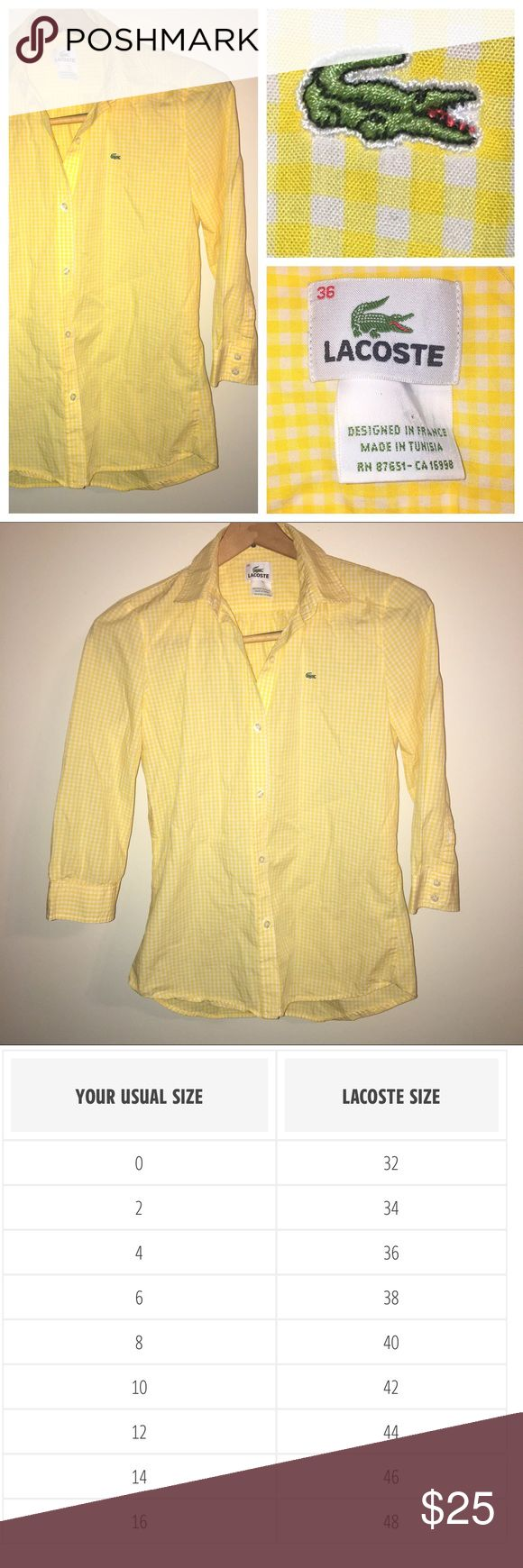 Lacoste Yellow Gingham 3/4 sleeve button up Cute Preppy Yellow Gingham button up. Goes Well With Shorts, Skirts, Or Pants. Fits Xs/S. In Great Condition. Lacoste Tops