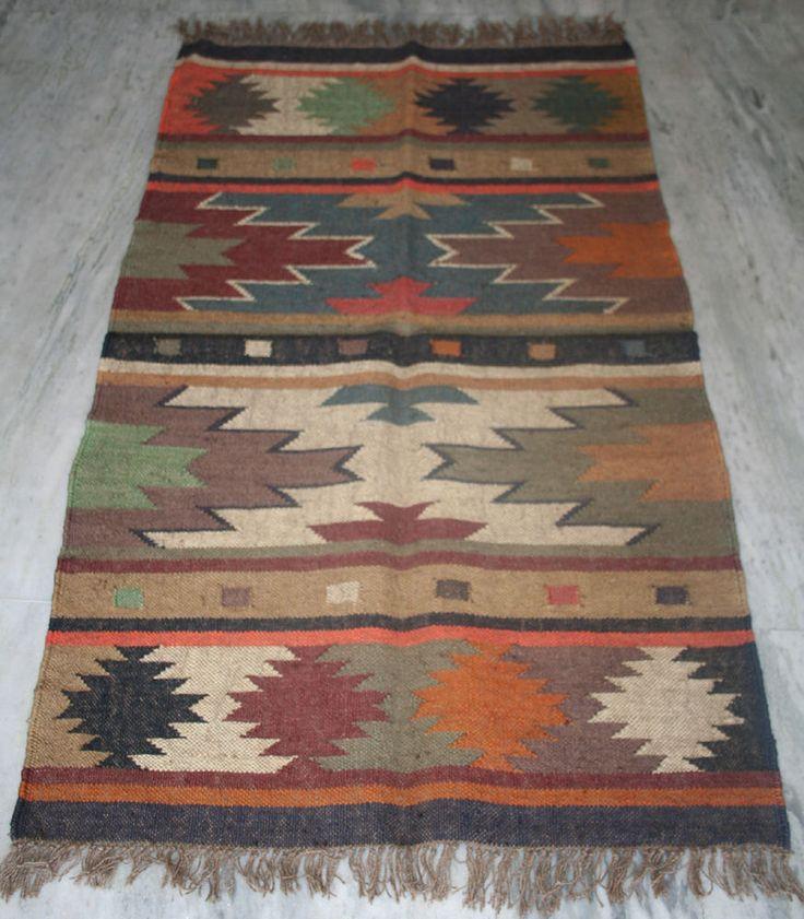 Vintage Antayla Anatolian Rug, Turkish Kilim Area Wool Jute Rug, Geometric Rug #Turkish