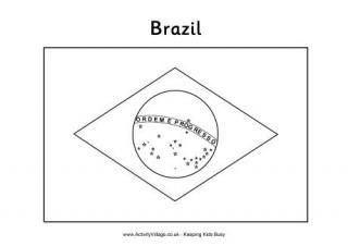 Brazil Flag Colouring Page