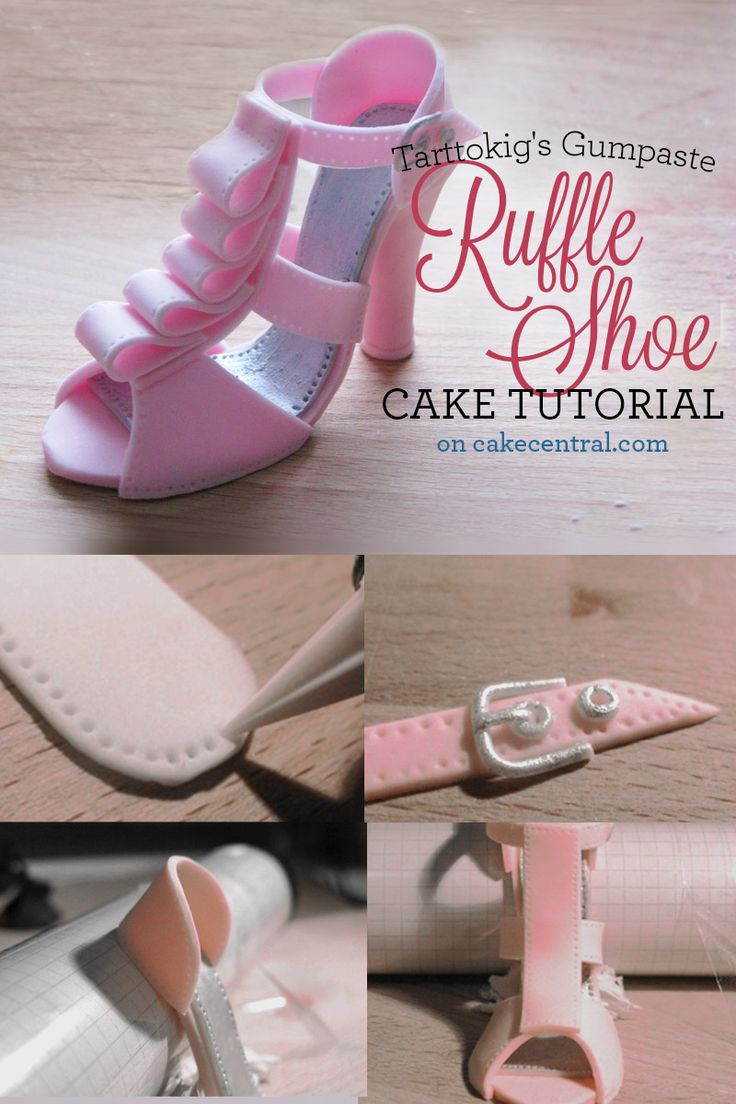 High Heel Cake Topper Tutorial - Ruffled Styling - Cake Central.  She makes it look easy!   http://cakecentral.com/b/tutorial/high-heel-cake-topper?utm_source=facebook_medium=post_content=high-heel-cake-topper_campaign=tutorial