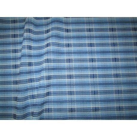 Tissu jersey tartan bleu