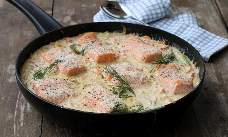 Er du litt lei av laks? Linda Stuhaugs oppskrift på laks med kremet parmesansaus er en populært rett som gir nytt liv til laksefileten.
