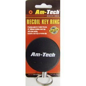 BLACK RECOIL RETRACTABLE KEY CHAIN RING WITH BELT CLIP BLACK RECOIL RETRACTABLE KEY CHAIN RING WITH BELT CLIPMADE BY AM-TECHRecoil Key RingPrecision Made For Trouble Free Use 26″ (650mm) Recoil Rope With Nylon CoatingFeatures A Belt Clip On The Reverse Side This item is brand NEW and is retail packaged!!!!!!Retractable key chainPrecision made for trouble – free use26″ (650 mm) Stainless Steel Rope with Nylon CoatingFeatures a Belt Clip on reverse sideOne su