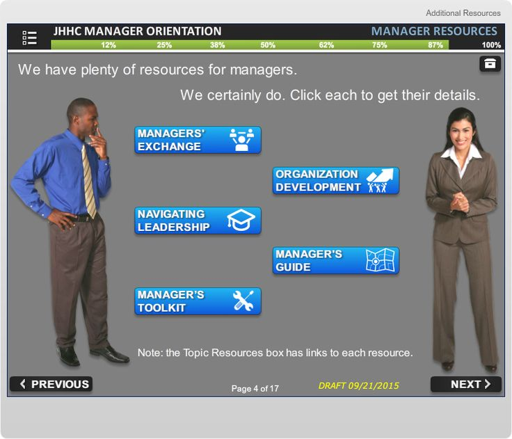 Screen from Manager Orientation course