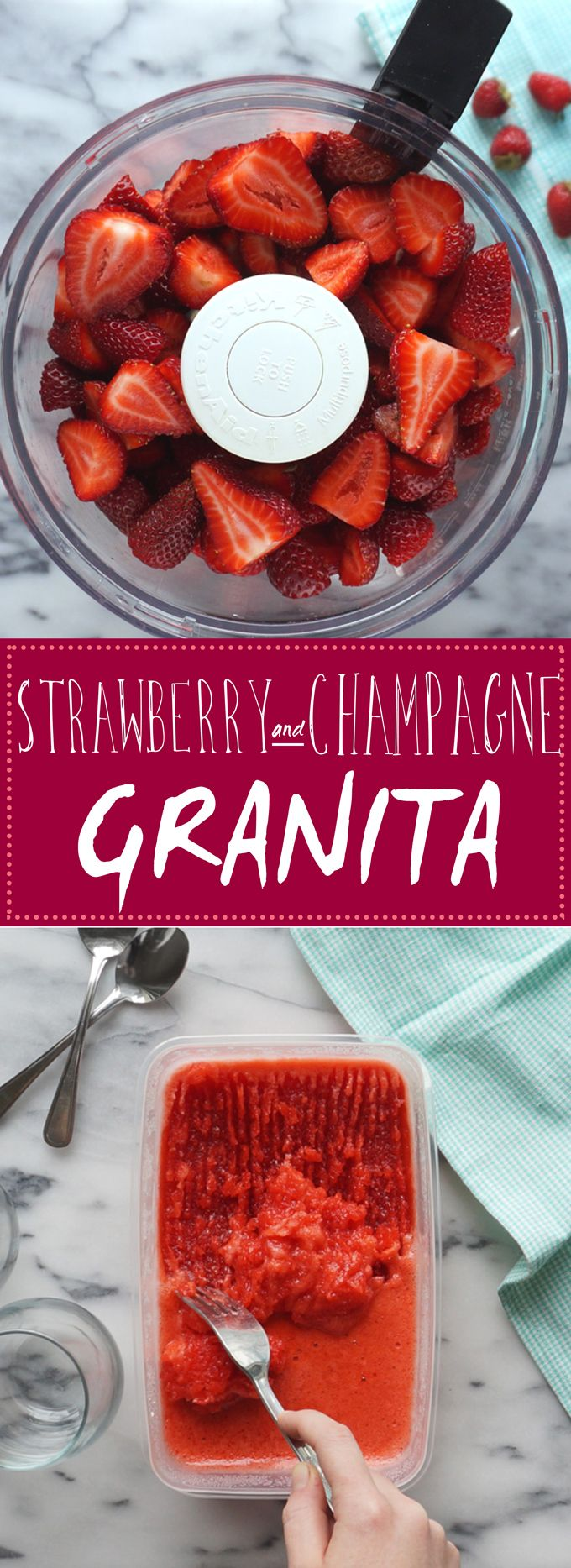 Strawberry & Champagne Granita - use #ConoSur Brut Sparkling wine for this luscious summer treat!
