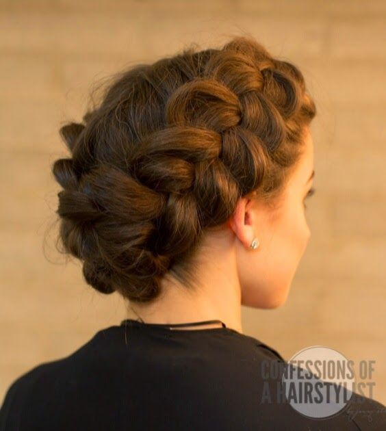 Double dutch braid - part hair down the middle, do a Dutch braid (french braid with middle lifted over outside) down each side, pancake braids, tuck one under the other and pin.