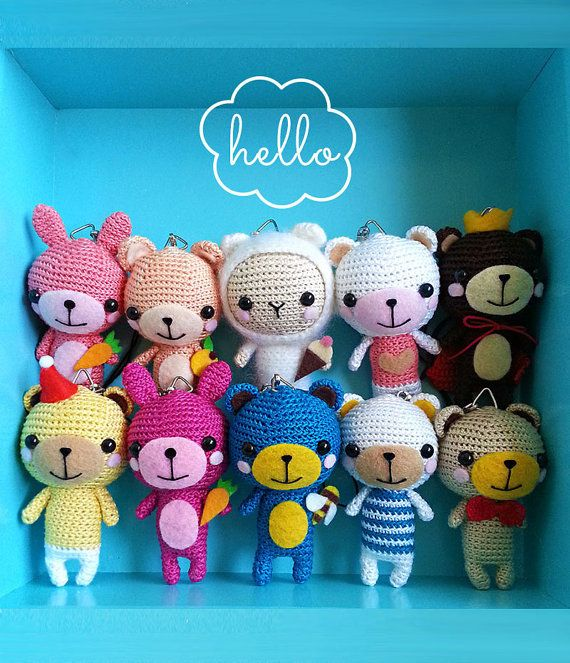 Look at these amigurumi bears! Try to make theme, they are really cute :)