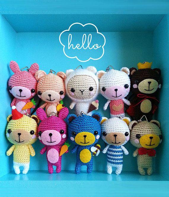Crochet Bear/Bear Amigurumi Doll/Pink Bear Bag by krokrolamb