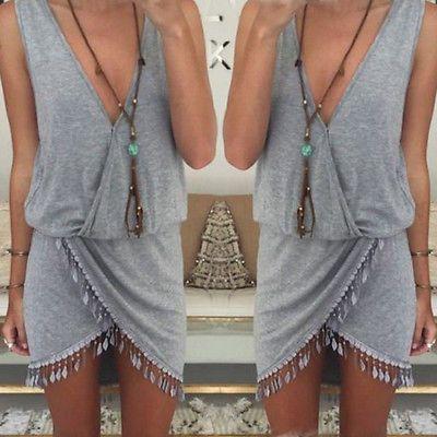 New 2016 fashion Women Summer casual dress Boho Beach Sleeveless Aysmmetrical Tassel Dresses