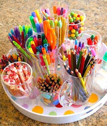 Organizing supplies.