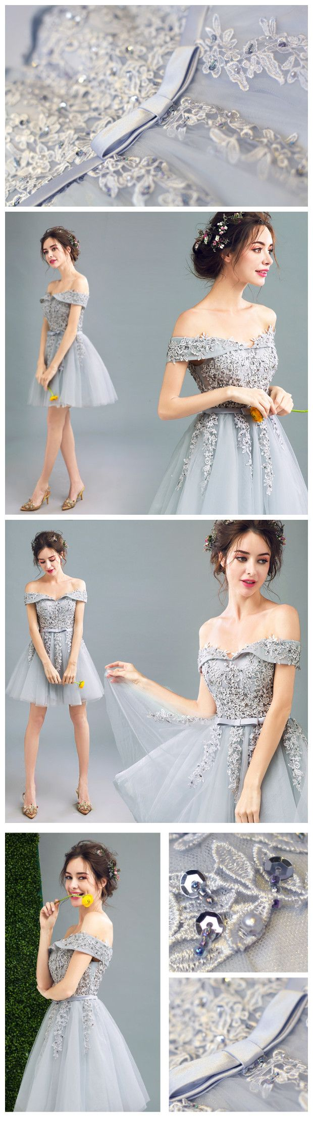 2017 A-LINE OFF-THE-SHOULDER TULLE SHORT PROM DRSESS HOMECOMING DRESS SKY438