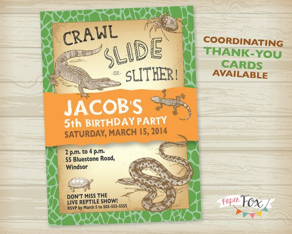 Reptile Birthday Party Invitation PRINTABLE By PaperFoxStudios 1400