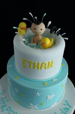 Bath with rubber duck cake