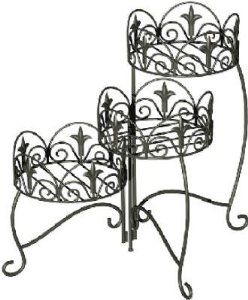 Panacea Products 3-Tier Folding Classic Finial Plant Stand, Black by Panacea Products. $39.59. Measures 21.5-inches in height by 8-inches diameter potting areas. Made of steel. Black in color. Powder coated finish. 3-tier folding classic finial plant stand. This unique 3-tiered Classic Finial Plant Stand offers tremendous value and versitility.  Three moving 8 Inches diameter potting areas allow for different positioning of the plants.  The three leveled set-up further enhan...