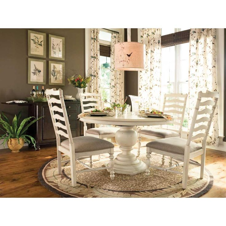paula deen round dining table dining set 5 piece in linen finish uf
