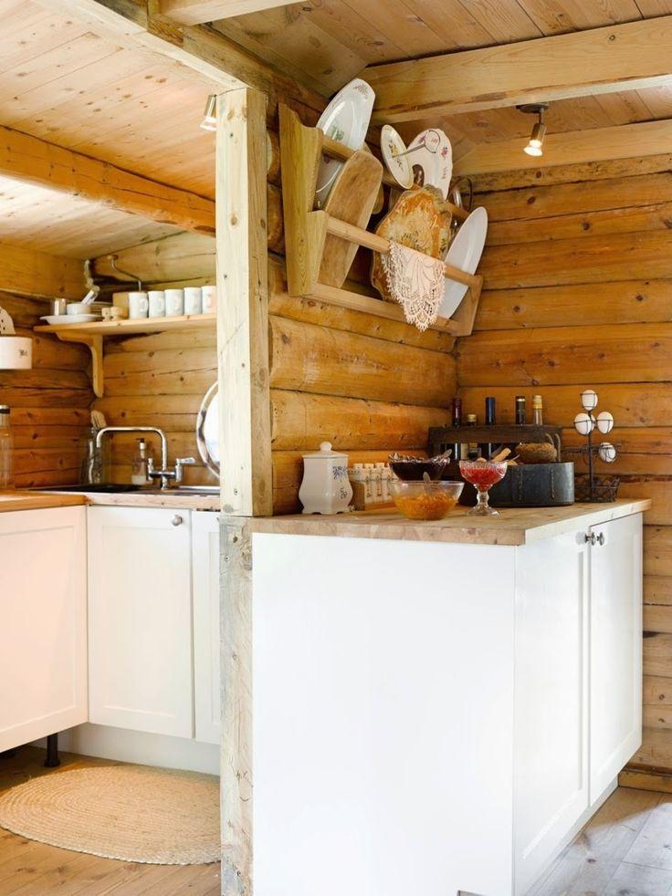 Drewniany dom w stylu skandynawskim i wiejskim - wystrój wnętrz, wnętrza…