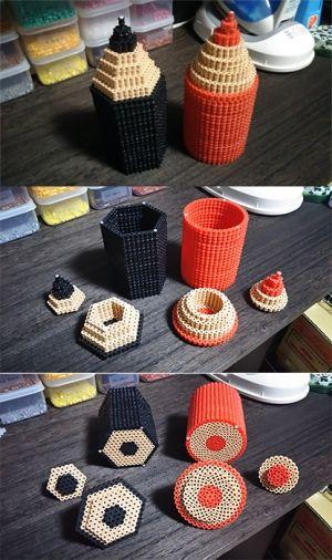 3D Pencil boxes perler beads