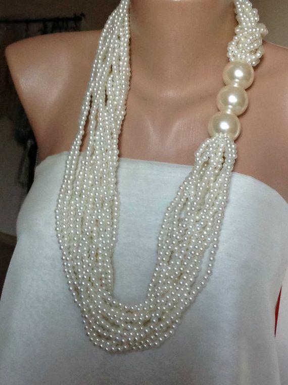 2016 Bridal Pearl Necklace multistrand Pearl by HMbySemraAscioglu