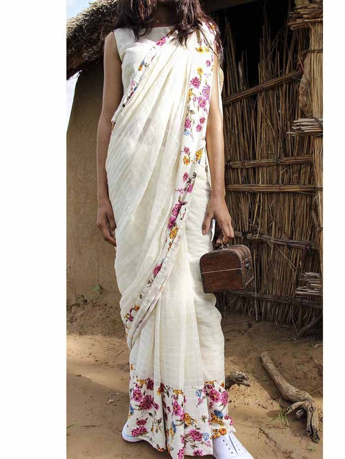 Off White Cotton Floral Border Saree from TheLoom.in ...