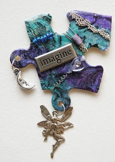 2cre8art: March Project - Altered Jigsaw Puzzle Pin
