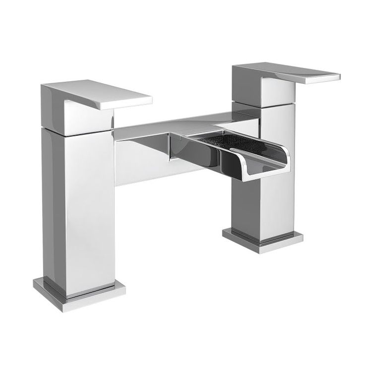 £80  Discover the beautiful Plaza Waterfall Modern Bath Taps online. Features a sleek square design. Deck mounted. Now available at Victorian Plumbing.co.uk.