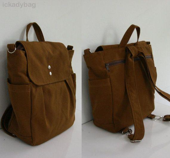sale convertible backpack rucksack in brown diaper bag travel tote canvas bag school. Black Bedroom Furniture Sets. Home Design Ideas