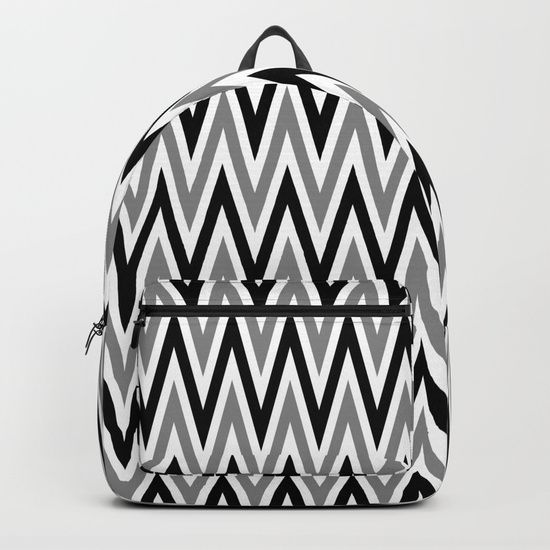 "Our Backpacks are crafted with spun poly fabric for durability and high print quality. Thoughtful details include double zipper enclosures, padded nylon back and bottom, interior laptop pocket (fits up to 15""), adjustable shoulder straps and front pocket for accessories. Dry clean or spot clean only. One unisex size: 17.75""(H) x 12.25""(W) x 5.75""(D). Back to school backpack #society6 #backpack #loveschool #backtoschool #school #blackandwhite #chevron #zigzag #cute #pretty"